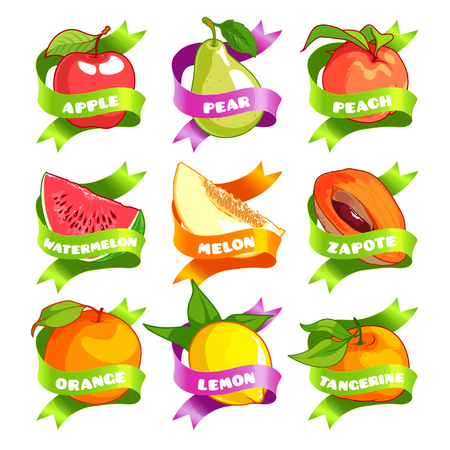 apple isolated: Nine stickers with ribbon and different fruits. Apple, pear, peach, watermelon, melon, zapote, orange, lemon, and tangerine. Vector illustration isolated on a white background.
