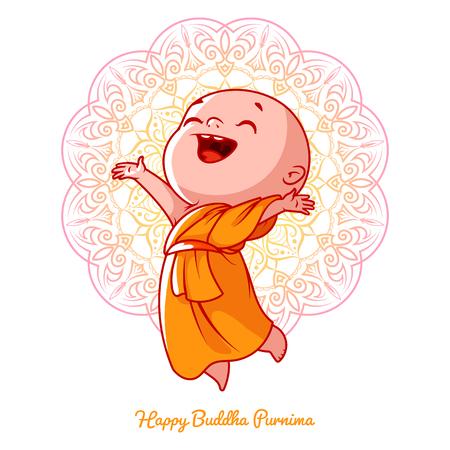 Kleiner glücklicher Mönch im Orangenmantel. Zeichentrickfigur. Vector Cartoon Illustration auf einem weißen Hintergrund mit einem Mandala.