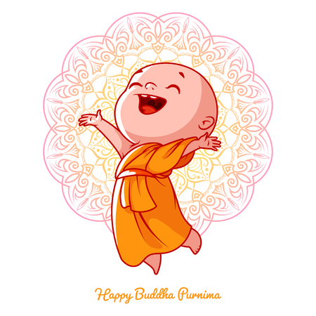 Piccolo monaco felice nell'abito arancione. Personaggio dei cartoni animati. Illustrazione cartoon vettoriale su uno sfondo bianco con un mandala.