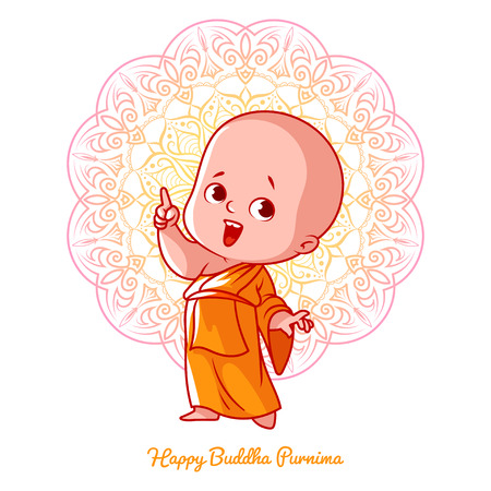 Little cute monk with thumb up in the orange robe. Cartoon character. Vector illustration on a white background with a mandala. Vectores