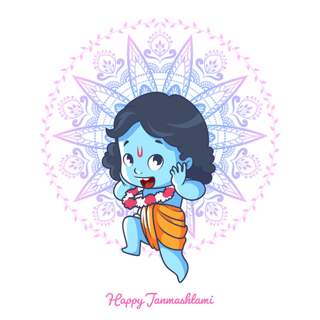 Very happy little Krishna. Greeting card for Krishna birthday - Janmashtami. Vector illustration isolated on a white background.
