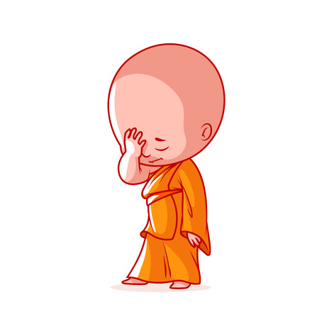 Little monk with an idea. Cute cartoon character. Vector cartoon illustration on a white background.