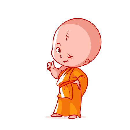 Glücklicher kleiner Mönch mit dem Daumen oben. Nette Zeichentrickfilm-Figur. Vektorkarikaturillustration auf einem weißen Hintergrund.