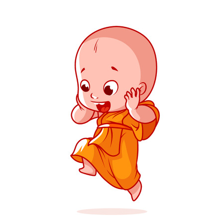 Very happy little monk is jumping. Cute cartoon character. Vector cartoon illustration on a white background.