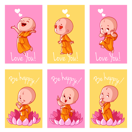 Set of cute cards with Buddha. Vector illustration isolated on a white background. 向量圖像