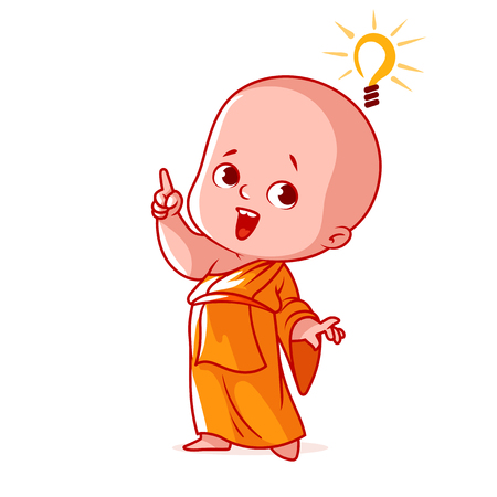 buddhist monk: Little monk with an idea. Cute cartoon character. Vector cartoon illustration on a white background.