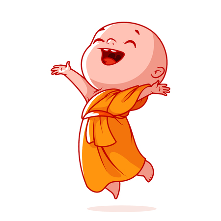 Very happy little monk is jumping. Cute cartoon character. Vector cartoon illustration on a white background. Stock Vector - 84050466