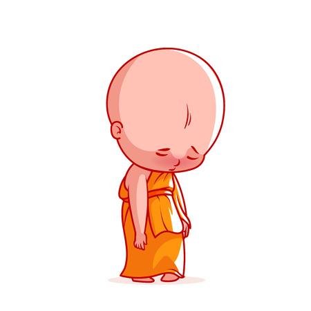 buddhist monk: Sad little monk. Cute cartoon character. Vector cartoon illustration on a white background.