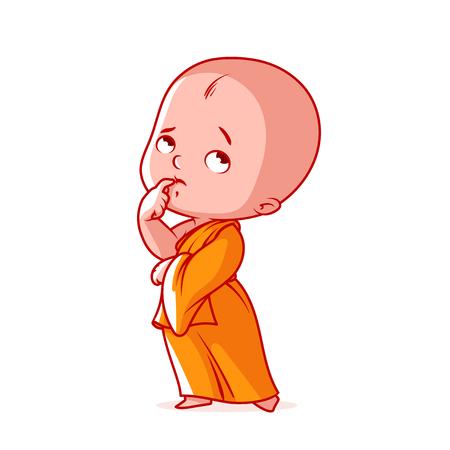 オレンジ色のローブで物思いにふける小さなモンク。かわいい漫画のキャラクター。白の背景にベクトル漫画イラスト。