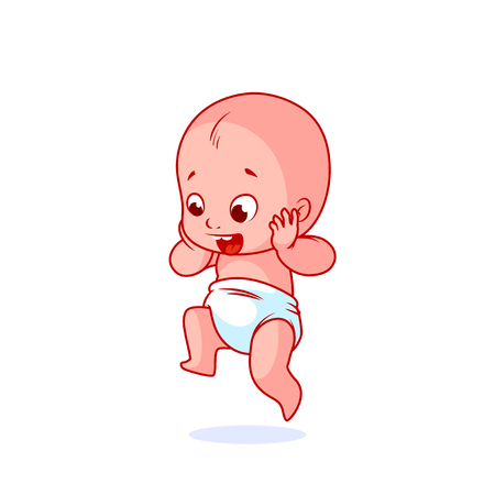 Very happy little baby in the diaper. The funny cartoon character is jumping. Vector illustration isolated on a white background.