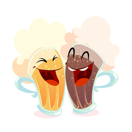 Two happy beer glasses with light and dark beer. Best friends. Vector illustration isolated on a white background.