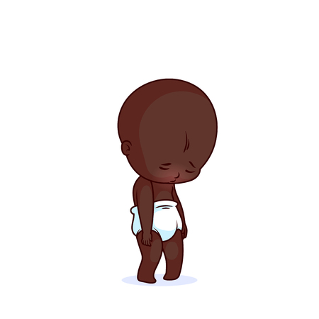 Cutest very sad African American baby in the diaper. The funny cartoon character. Vector illustration isolated on a white background.