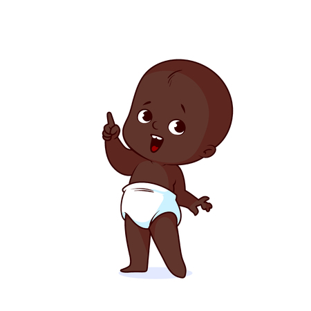 Very cute African American little baby in a white diaper with a finger up. Funny cartoon character. Vector illustration isolated on a white background.