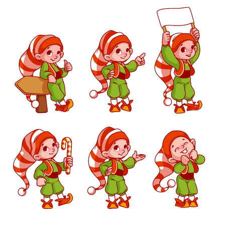 Christmas elves with different emotions. Santa's helpers. Vector cartoon illustration. Stock Illustratie