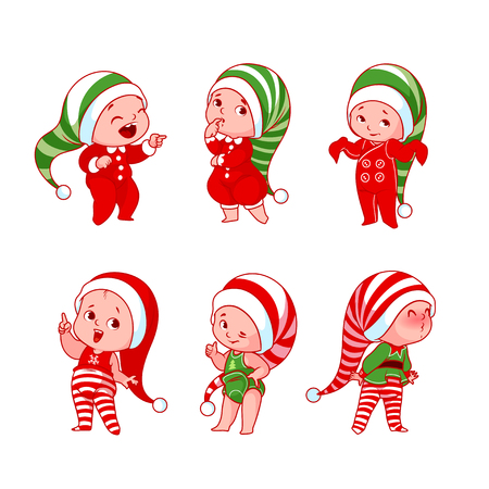 Christmas babies with different emotions in various festive costumes. Vector cartoon illustration.