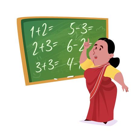 Indian school teacher in saree with a green chalkboard. Vector cartoon illustration.