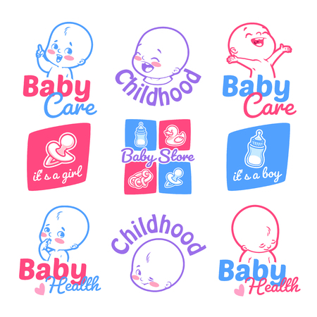 Set of cute kids logos for your business. Baby care, baby health, and badges for the baby shower. Labels isolated on a white background.