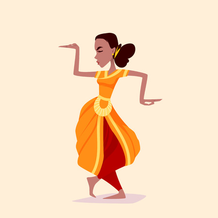 Indian girl dancer in the posture of Indian dance. Vector cartoon illustration.
