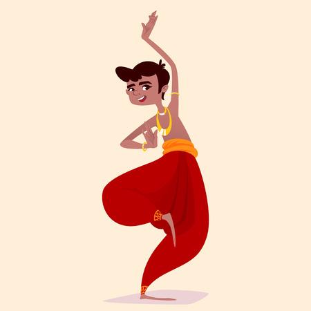 Indian boy dancer in the posture of Indian dance. Vector cartoon illustration.