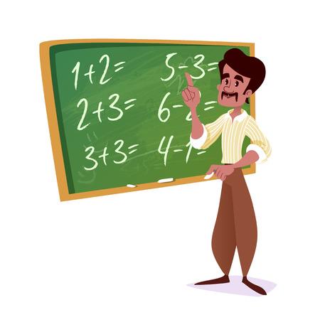 Indian school teacher with a green chalkboard. Vector cartoon illustration. Stock Illustratie
