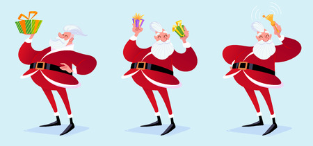 Hipster Santa Claus with gifts and bell. Vector cartoon illustration. Stock Illustratie