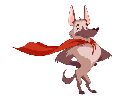 The super dog with the red cloak in the heroic pose. The humans best furry friend. Vector illustration on a white background.
