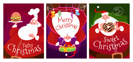 Three Christmas cards with Santa Claus. Santa with a burger, with a donut and Santa in the fireplace with a gift. Vector illustration.