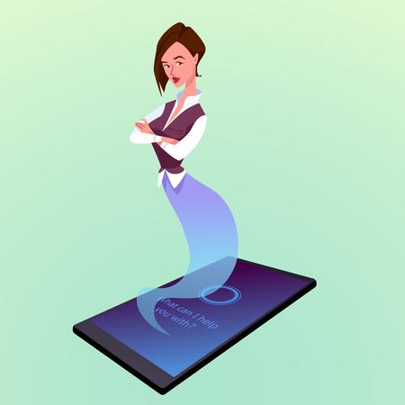 Modern smartphone with virtual woman assistant like a genie. Vector cartoon illustration. Çizim