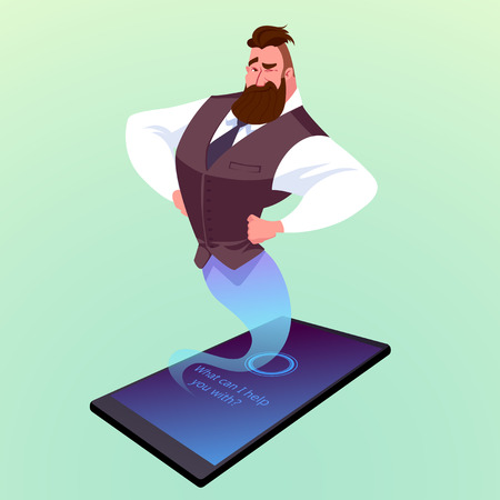 helpful: Modern smartphone with virtual assistant like a genie. Vector cartoon illustration.