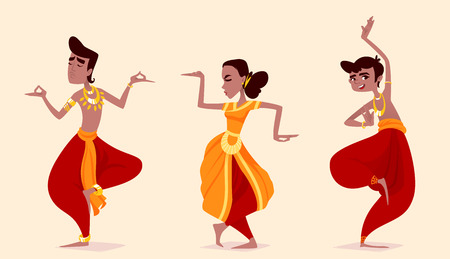 Indian dancers in the posture of Indian dance. Vector cartoon illustration.