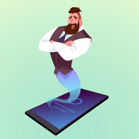 Modern phone with virtual assistant like a genie. Illustration