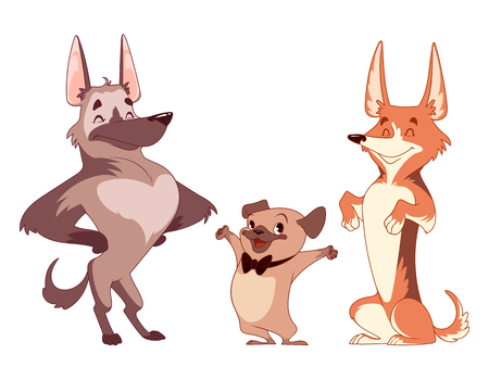 Set of cartoon dogs characters.