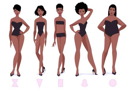 Conjunto de tipos de forma de cuerpo femenino - cinco tipos. Mujeres afroamericanas. Ilustración de dibujos animados de vector.