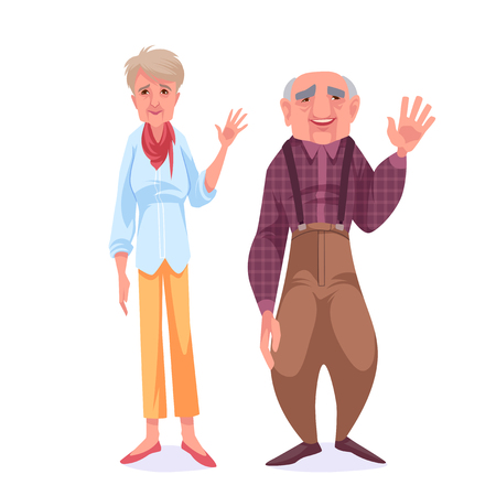 A couple of old people. Grandparents saying hi and waving their hands. Vector cartoon illustration. Stock Illustratie