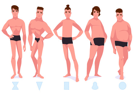 Set of male body shape types - five types. Vector cartoon illustration. Stock Illustratie