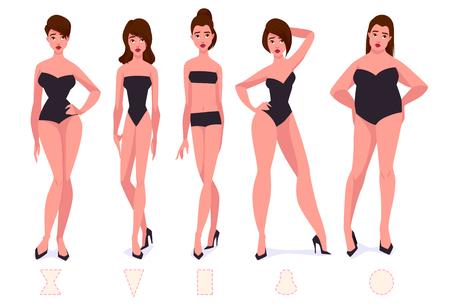 ●女性体型タイプのセット-5 種類。ベクトル漫画のイラスト。