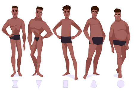Set of male body shape types - five types. African americam men. Vector cartoon illustration. Çizim