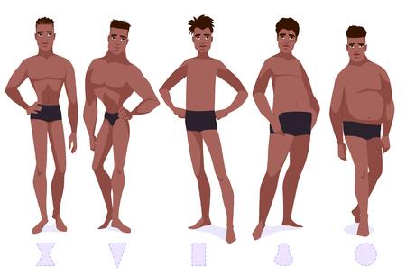 Set of male body shape types - five types. African americam men. Vector cartoon illustration. Illustration