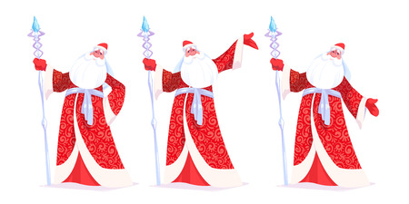 Russian Father Frost or Ded Moroz in red color. Vector cartoon illustration. Ilustração