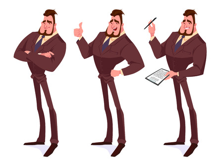 Set of businessmen in the brown suits. Vector cartoon illustration. Stock Illustratie