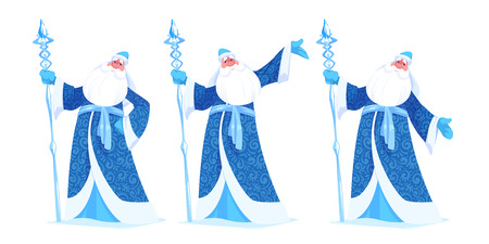 Russian Father Frost or Ded Moroz in blue color. Vector cartoon illustration.