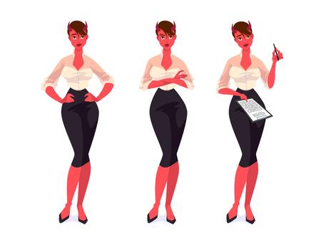 Set of devil businesswomen. Vector cartoon illustration.