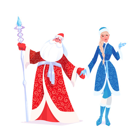 """러시아 신부 Frost는 """"Ded Moroz""""와 그의 손녀 """"Sneguroschka""""로도 알려져 있습니다. 벡터 만화 일러스트 레이 션. 일러스트"""