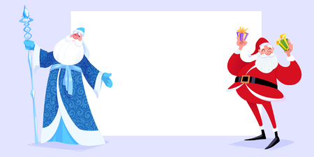 Russian Father Frost also known as Ded Moroz  and Santa Claus near the white page. Vector cartoon illustration.