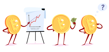 Set of bitcoin character in the different situations. Vector cartoon illustration. Stock Illustratie