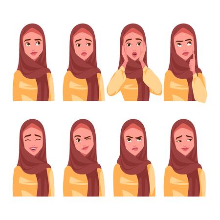 Set of Muslim woman's emotions. Vector cartoon illustration. Illustration