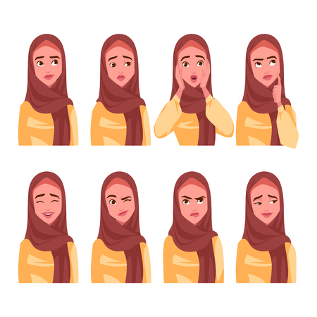 Set van emoties van de moslimvrouw. Vector cartoon illustratie.