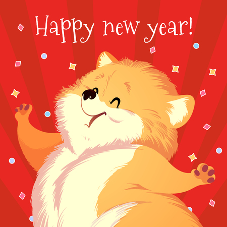 Cartoon card for New Year with fluffy cute dog. Vector illustration.