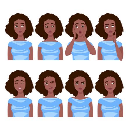 Set of African American woman's emotions. Vector cartoon illustration. Stock Illustratie
