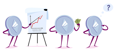 Set of ethereum character in the different situations. Vector cartoon illustration. Stock Illustratie